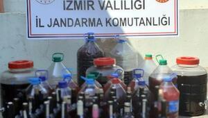 İzmirde, 163 litre sahte şarap ele geçirildi