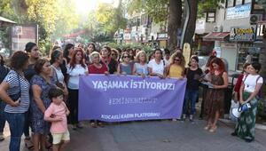Kocaeli Kadın Platformu üyeleri Emine Bulut cinayetine tepki gösterdi