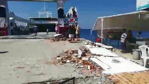 Avşada feribot iskeleye çarptı