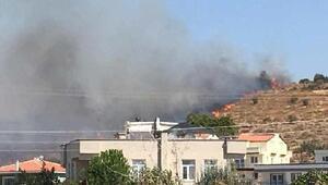Dikilide otluk ve makilik alanda yangın