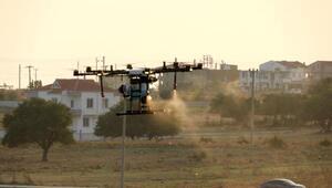 Enezde drone ile ilaçlama çalışması