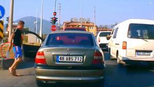 Muğlada satırlı trafik magandası