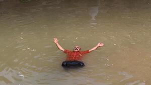 Serinlemek isteyen gençler iş makinesi ile doğal havuz yaptırdı