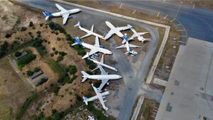 Atatürk Havalimanındaki uçak mezarlığı böyle görüntülendi... Hepsi açık artırmayla satılacak