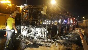 TEMde otobüs alev alev yandı