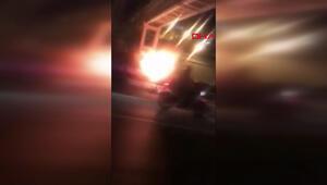 Otobüs yangınını izleyeyim derken canından oluyordu