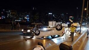 Aracıyla takla atan sürücü yaralandı