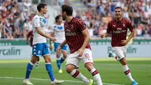 Hakan Çalhanoğlunun golü Milana galibiyeti getirdi
