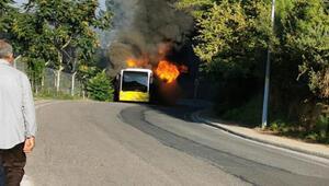Beykozda İETT otobüsü yandı