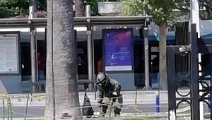 İzmirde şüpheli çanta kontrollü patlatıldı