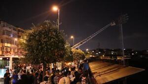 Karagümrük Stadının aydınlatma direğinde intihar girişimi