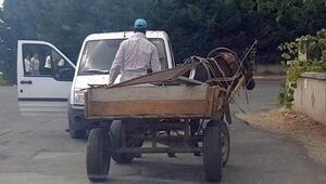 Söktüğü trafik levhalarını at arabasıyla götürürken yakalandı