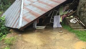 Rizede heyelanda ev çöktü: 1 yaralı