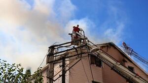 Zonguldakta çatı yangını korkuttu