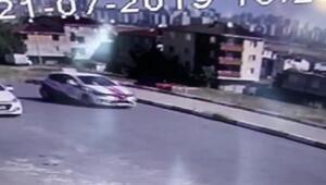 Avcılarda sürücü adayının eğitim aracıyla kazası kamerada