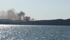 Ayvalıkta Hakkı Bey Yarımadasında yangın