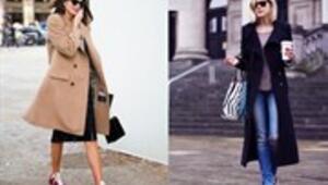 Uzun palto & spor ayakkabı