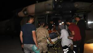 Beyin kanaması geçiren kişi, askeri helikopterle hastaneye ulaştırıldı