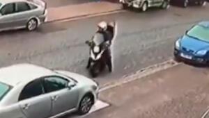 Motosikletli, diğer 3 hırsıza böyle karşı koydu