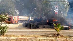 Adana'da pamuk yüklü TIR yandı