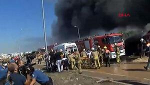 Tuzlada yanan fabrikada patlama anı