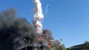 Tuzlada yanan fabrikada patlama