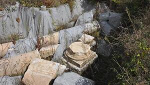 Amasrada tapınağa ait sütunlar bulundu