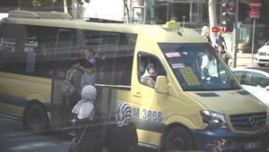Öğrencilerin minibüsteki tehlikeli yolculuğu kamerada