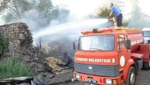 Suşehrinde samanlık yangını