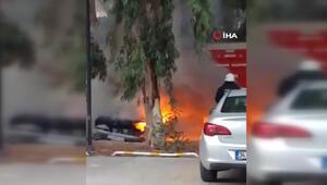 Bir gün önce aldığı otomobil alev alev yandı
