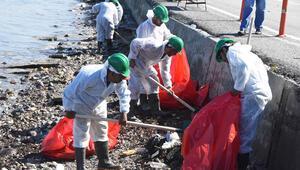 Foça sahili yine kapkara 50 kişilik ekip bölgede...