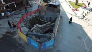 Üsküdarda asfaltın hemen altından tarihi kalıntılar çıktı