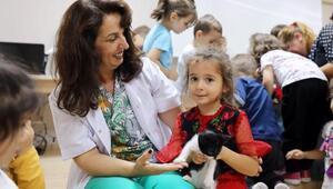 Mudanya'da kreşe giden çocuklar sokak hayvanlarıyla buluştu