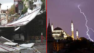 Son dakika... İstanbulda kuvvetli yağış Çatılar uçtu, otomobil devrildi, ağaçlar söküldü...