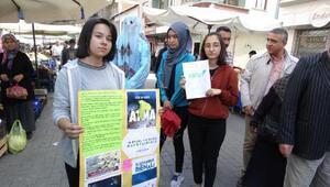 Öğrenciler poşet kullanımına dikkat çekti