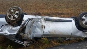 Edirnede yağmur kazaya yol açtı: 3 yaralı