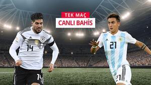 Almanya-Arjantin kapışması kaçmaz iddaada TEK MAÇ, CANLI BAHİS...