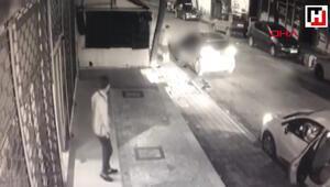 Sancaktepede otomobile düzenlenen silahlı saldırı kamerada