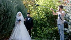 Botanik park evlenecek çiftlerin fotoğraf stüdyosu oldu