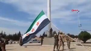 Suriye Milli Ordusu'nun bayrağı Tel Abyad'da göndere çekildi