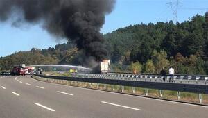 Bolu TEM'de TIR yangını