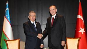 Erdoğan, Özbekistan Cumhurbaşkanı Mirziyoyev ile bir araya geldi