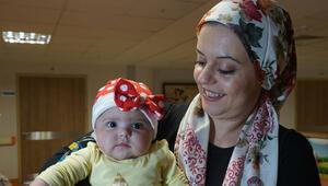 Ecrin bebek sağlığına kavuştu, gülücükler saçıyor