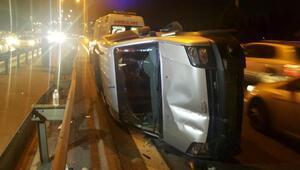 Kaza yapan araçlar TEMde uzun araç trafiği oluşturdu
