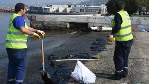 Aliağada gemiden sızan petrol nedeniyle balıkçılar ve halk uyarıldı