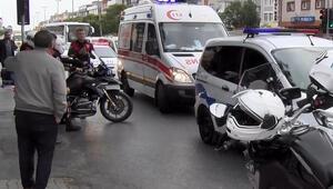 Avcılarda motosikletli polis kazada yaralandı