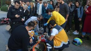 Motosikletli üniversiteli genç kazada yaralandı