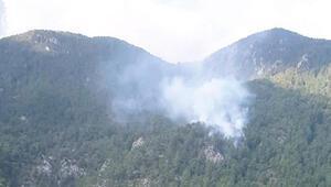Muğlada yıldırım düşmesi sonucu orman yangını çıktı