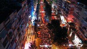Aydında fener alayında 500 metrelik Türk bayrağı açıldı