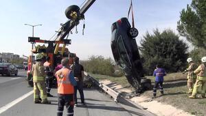 TEMde kaza Lüks otomobil takla attı